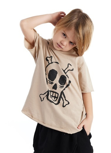 Colorinas Mask Hoody Baskılı T-Shirt Taş